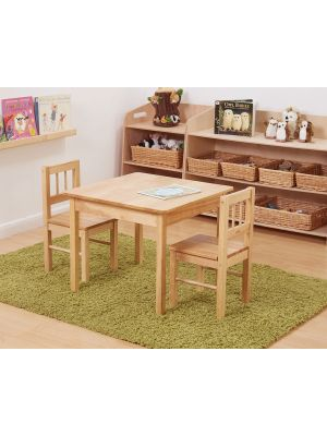 NATURAL WOOD TABLE AND CHAIRS (3PK)