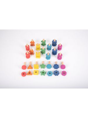 Rainbow Wooden Nuts and Bolts (21Pk)