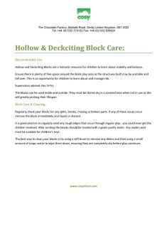 Hollow blocks advice and care