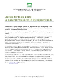 Loose parts advice for safe play