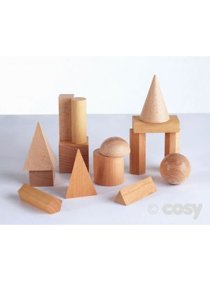WOODEN GEOMETRIC SOLIDS (15PK)