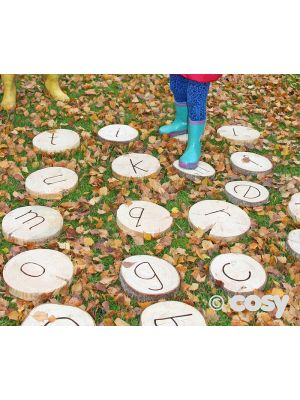 ALPHABET STEPPING WOODEN DISCS (26PK)