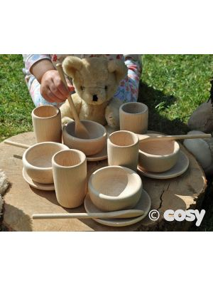 TEDDY BEAR WOODEN TEA SET (16PK)