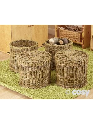 COSY SUPER STRONG WICKER SEAT & STORAGE (4PK)