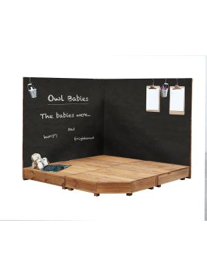 CORNER STAGE AND CHALKBOARDS