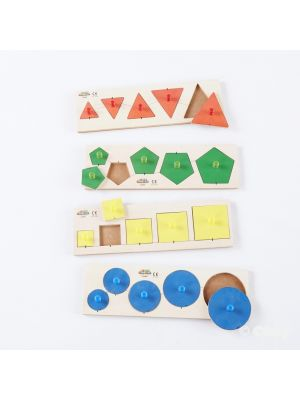 SIZE AND SHAPE PUZZLES (4PK)