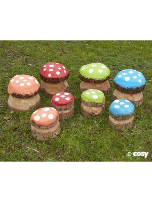 MEDIUM MUSHROOM PAINTED (4PK)