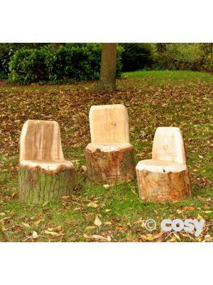 WOODEN CARVED OUT SEAT (3PK)