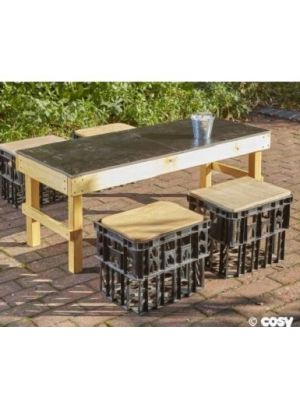 SLIM CRATE CHALK TABLE WITH CRATE SEATS
