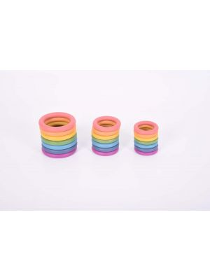 RAINBOW COLOURED WOODEN RINGS (21PK)