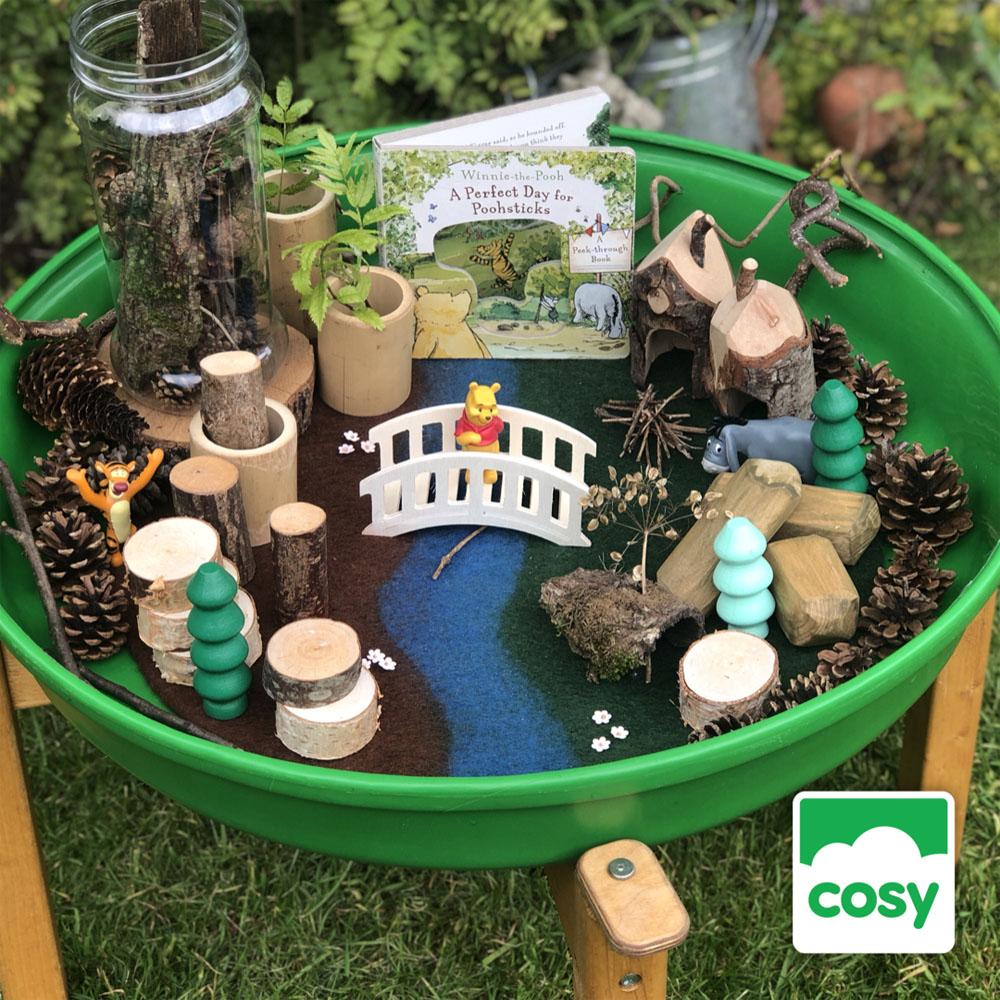 tray play - small world - winnie the pooh, poohsticks story play