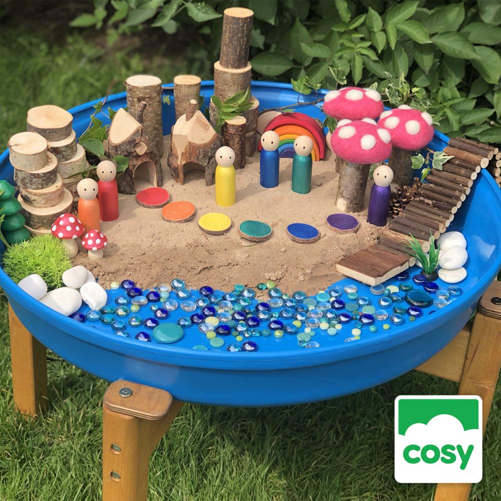tray play - rainbow small world play