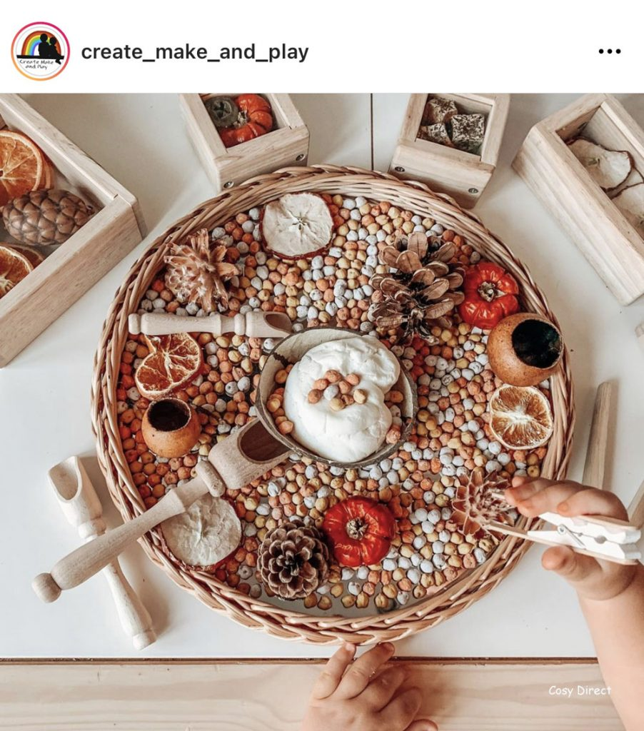 wicker mirror circle tray play ideas