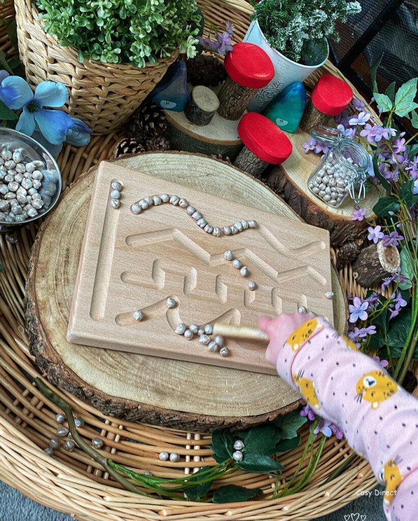 Wicker Tray Play - mark making