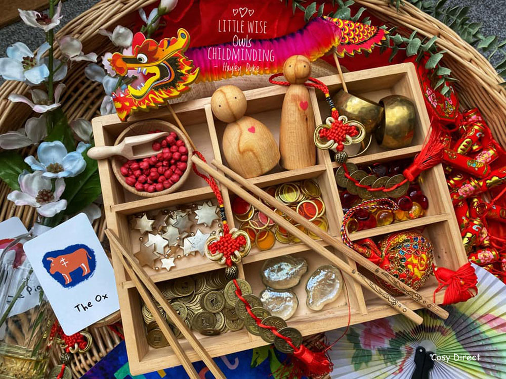 Wicker Tray Play - chinese new year