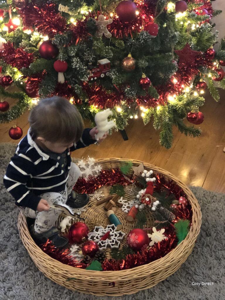 Wicker Tray Play - christmas