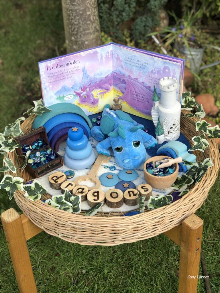 Wicker Tray Play - dragons