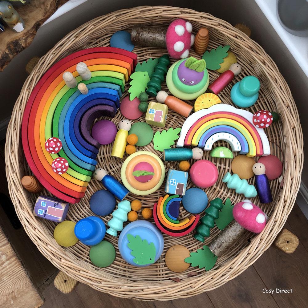 Wicker Tray Play - rainbows