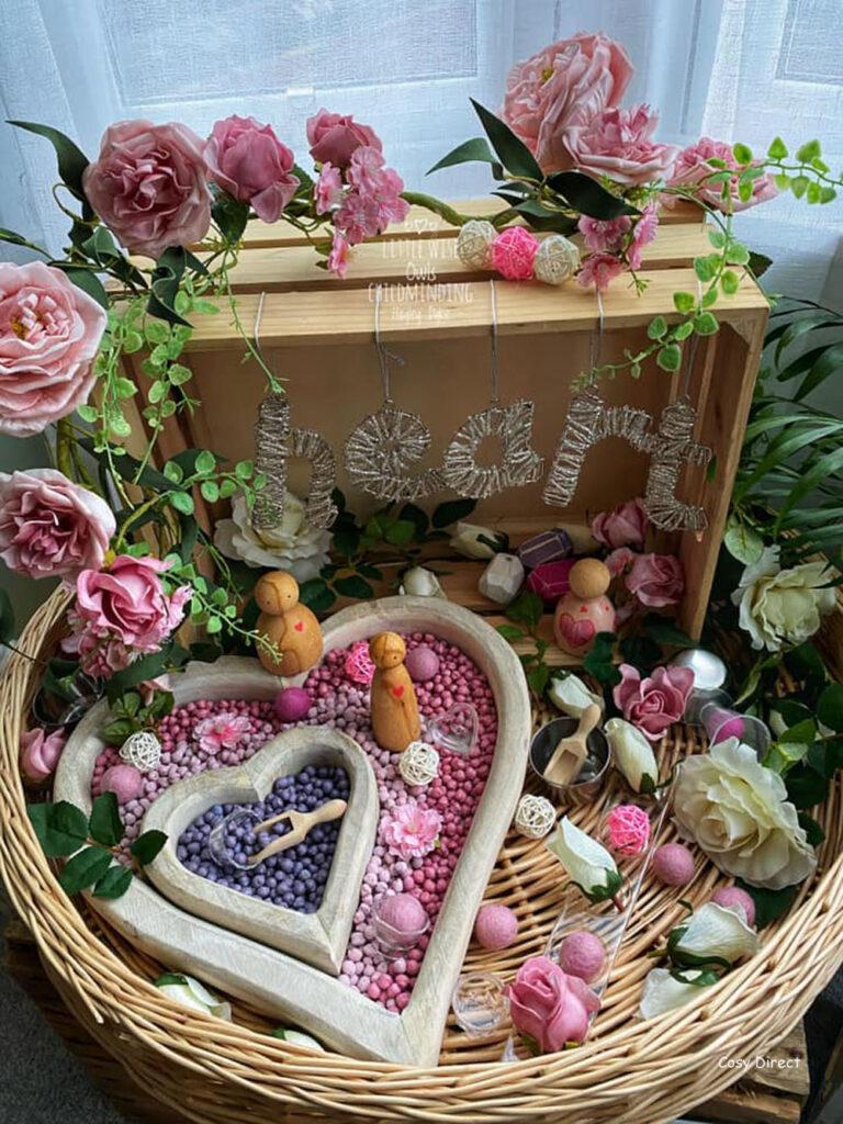 Wicker Tray Play - valentines