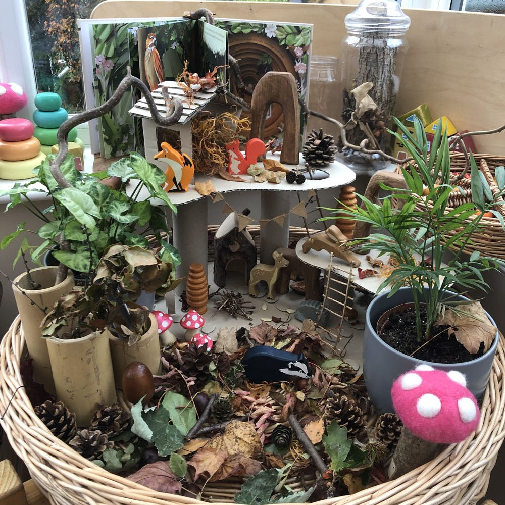 Wicker Tray Play - woodland small world play