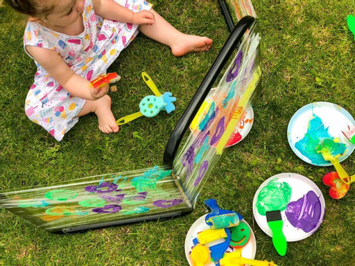 Cling Film Painting for outdoor art activities